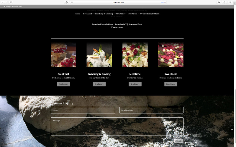CCR Kitchen chef portfolio website