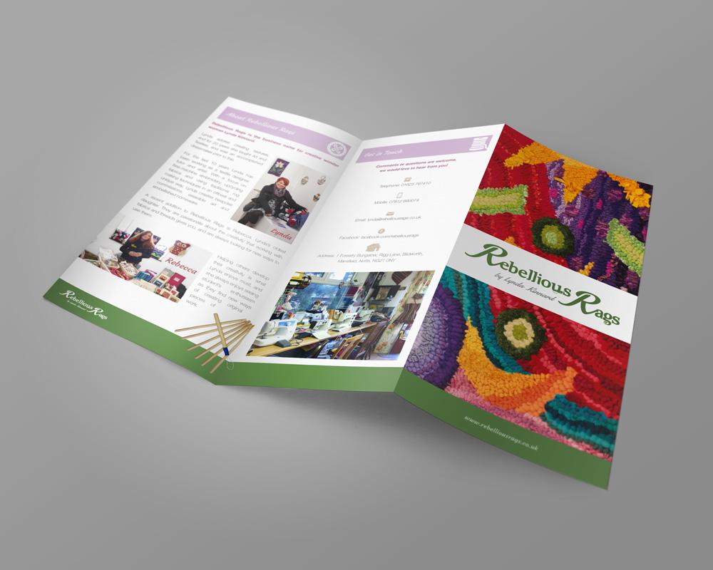Rebellious Rags tri-fold A4 leaflet / flyer