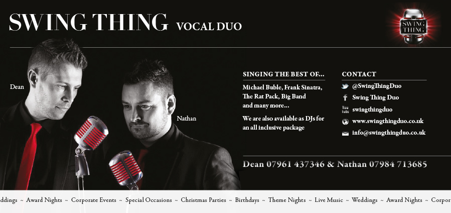 Vocal duo for hire promo card